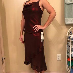 Jonathan Martin 2 Piece Maroon Shimmer Dress Set